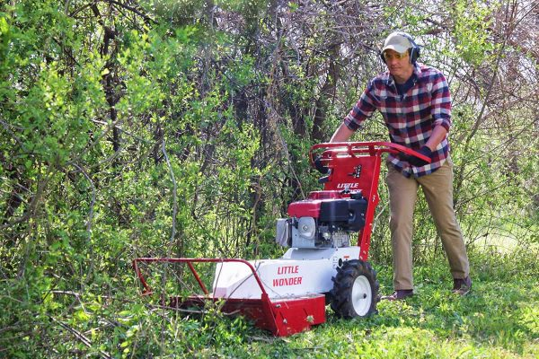 Little Wonder Brush Cutter clears overgrown brush