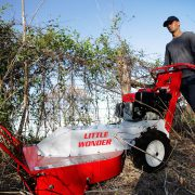 Little Wonder Brush Cutter cuts debris along fences